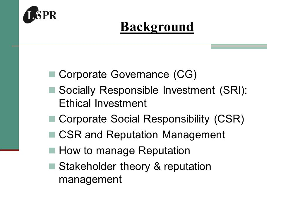 Introduction Corporate Governance & Business Ethics Standard and Poor's defines corporate governance as: Corporate governance refers to the rules and incentives by which shareholders control and influence a company's management so as to maximise profits and the value of the corporation .