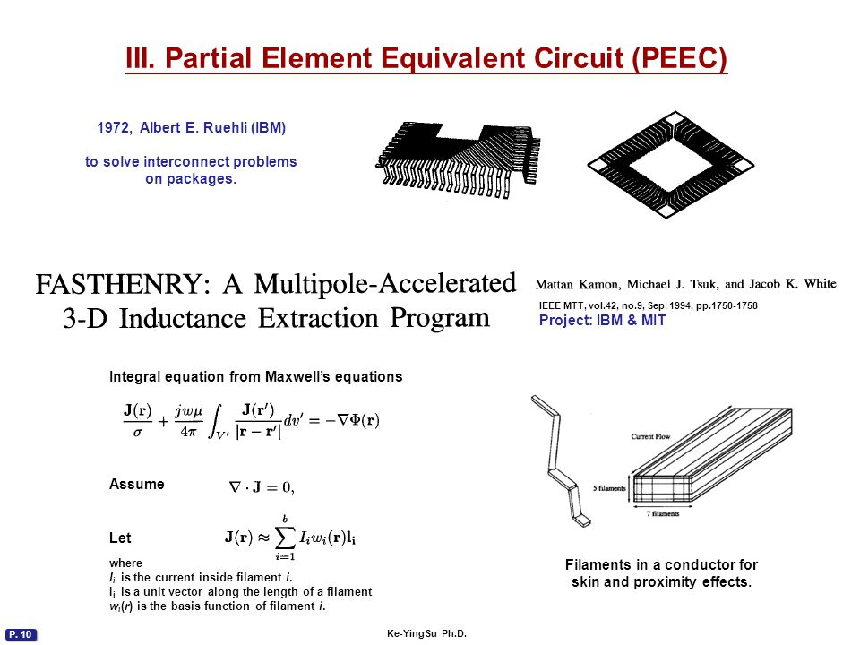 P. 10 Ke-YingSu Ph.D. III. Partial Element Equivalent Circuit (PEEC) 1972, Albert E. Ruehli (IBM) to solve interconnect problems on packages. IEEE MTT