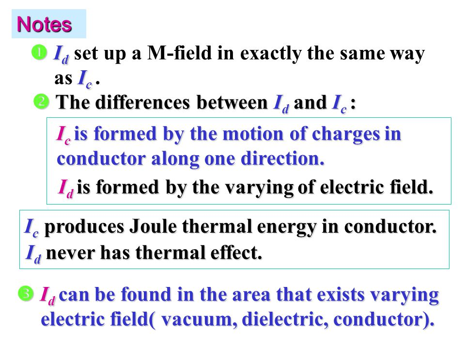 Notes  The differences between I d and I c : I c is formed by the motion of charges in conductor along one direction.