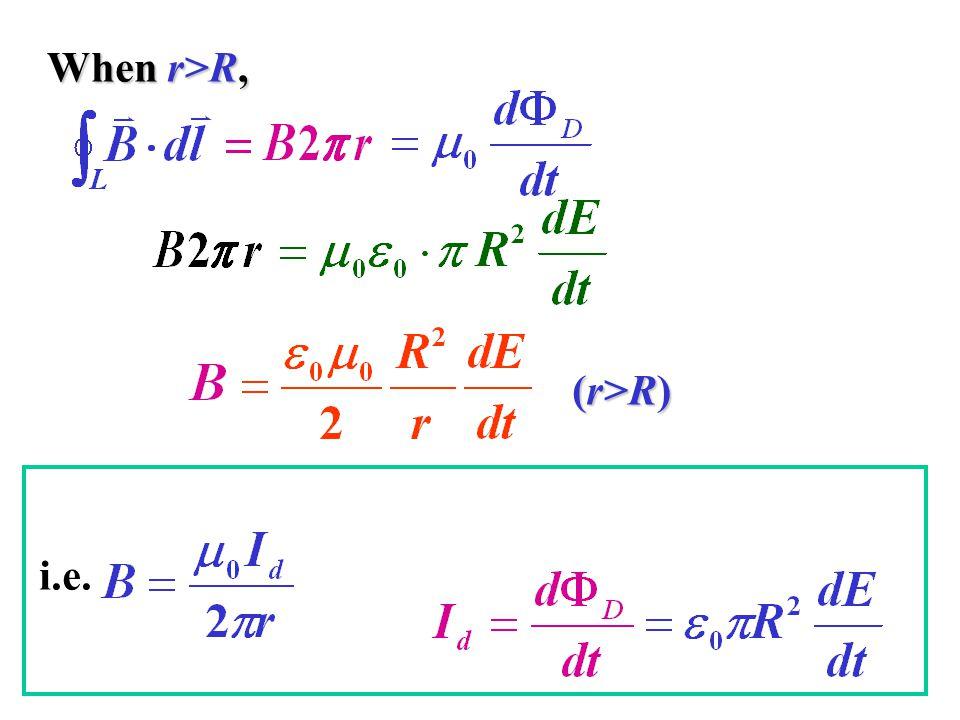 When r>R, (r>R) i.e.