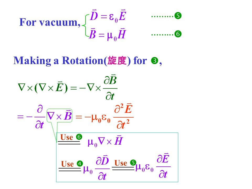 For vacuum,     Making a Rotation( 旋度 ) for , Use  Use  Use 
