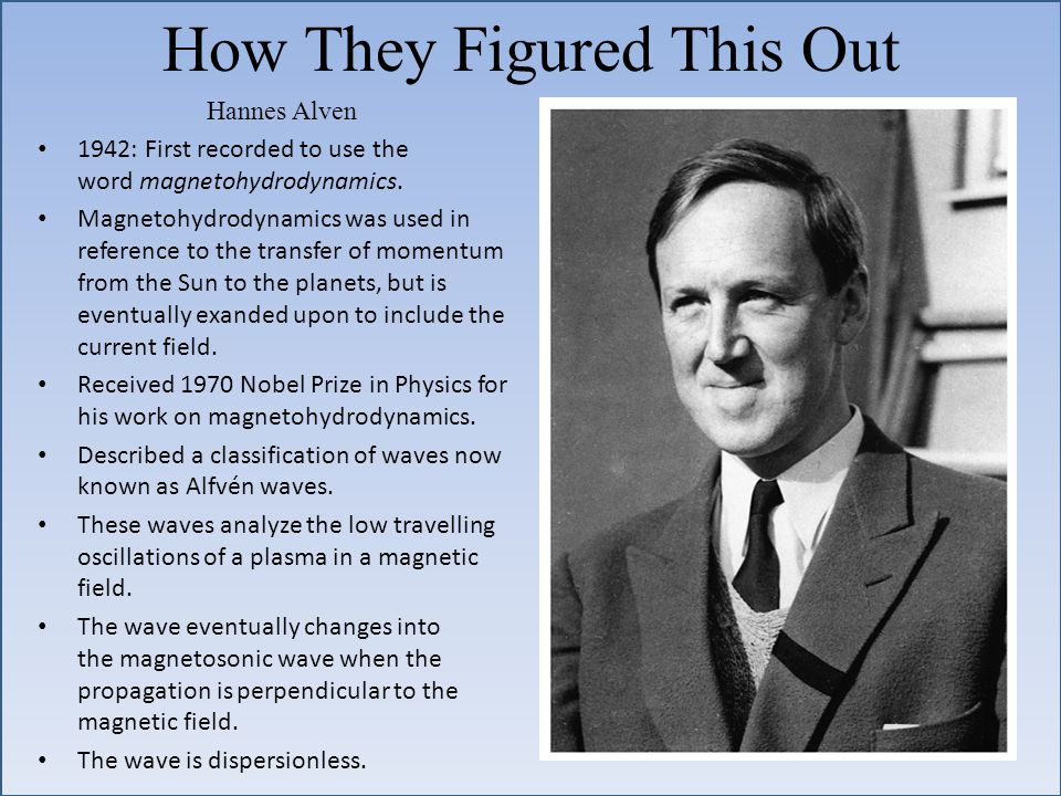 How They Figured This Out Hannes Alven 1942: First recorded to use the word magnetohydrodynamics.