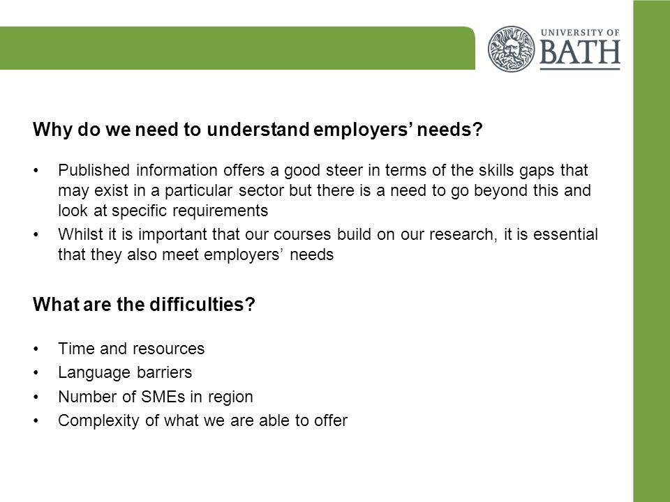 Why do we need to understand employers' needs.