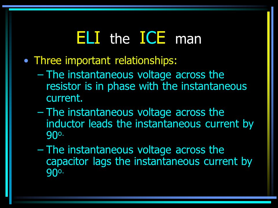 ELI the ICE man Three important relationships: –The instantaneous voltage across the resistor is in phase with the instantaneous current. –The instant