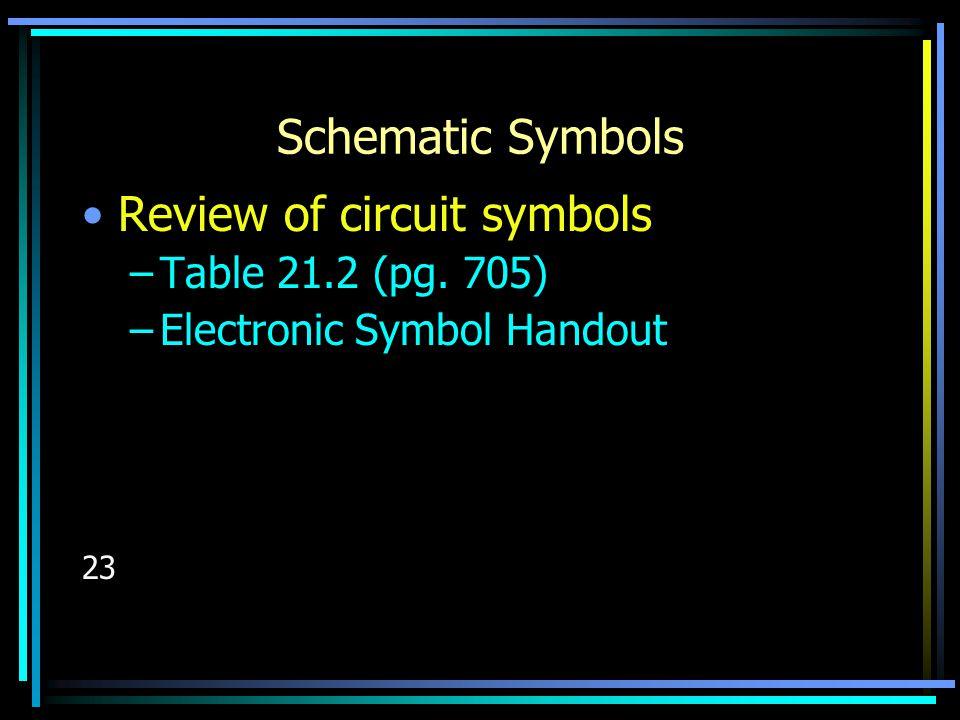 Schematic Symbols Review of circuit symbols –Table 21.2 (pg. 705) –Electronic Symbol Handout 23