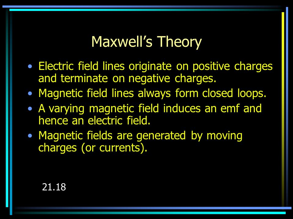 Maxwell's Theory Electric field lines originate on positive charges and terminate on negative charges.