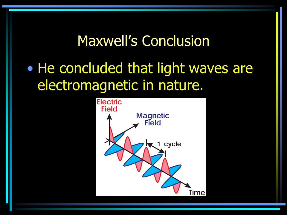 Maxwell's Conclusion He concluded that light waves are electromagnetic in nature.
