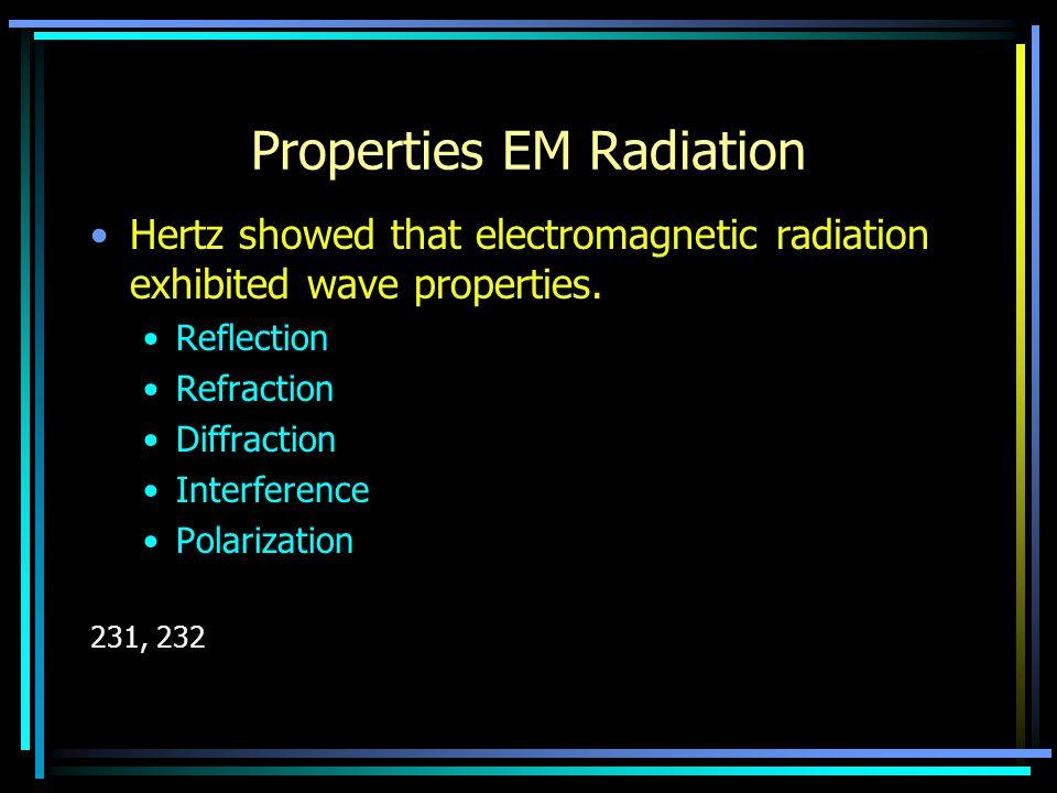 Properties EM Radiation Hertz showed that electromagnetic radiation exhibited wave properties. Reflection Refraction Diffraction Interference Polariza