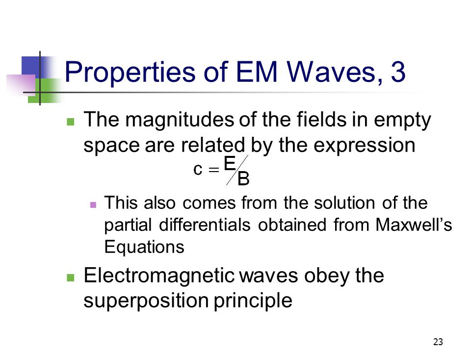 23 Properties of EM Waves, 3 The magnitudes of the fields in empty space are related by the expression This also comes from the solution of the partia