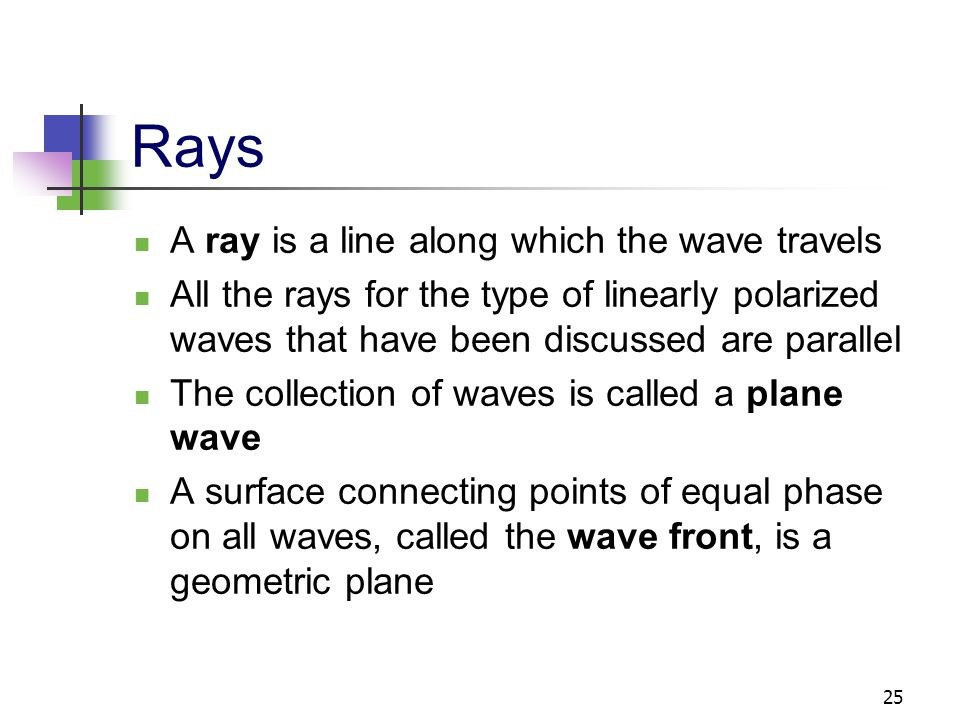 25 Rays A ray is a line along which the wave travels All the rays for the type of linearly polarized waves that have been discussed are parallel The c