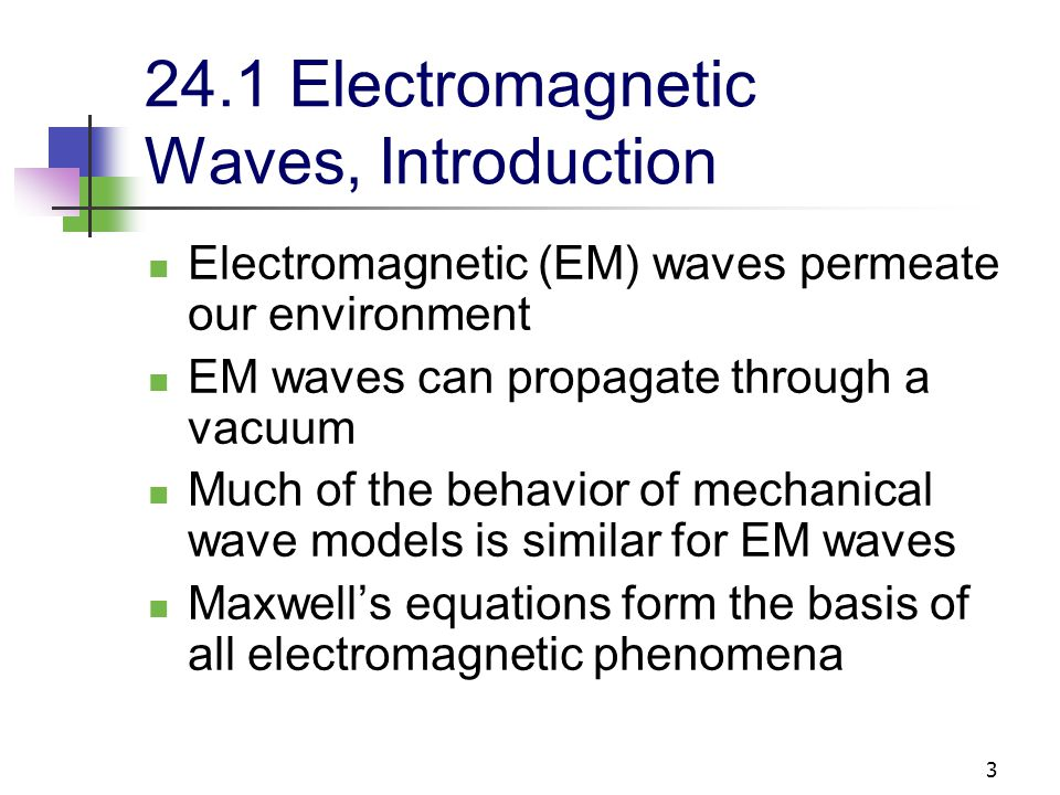 14 24.3 Electromagnetic Waves In empty space, q = 0 and I = 0 Maxwell predicted the existence of electromagnetic waves The electromagnetic waves consist of oscillating electric and magnetic fields The changing fields induce each other which maintains the propagation of the wave A changing electric field induces a magnetic field A changing magnetic field induces an electric field