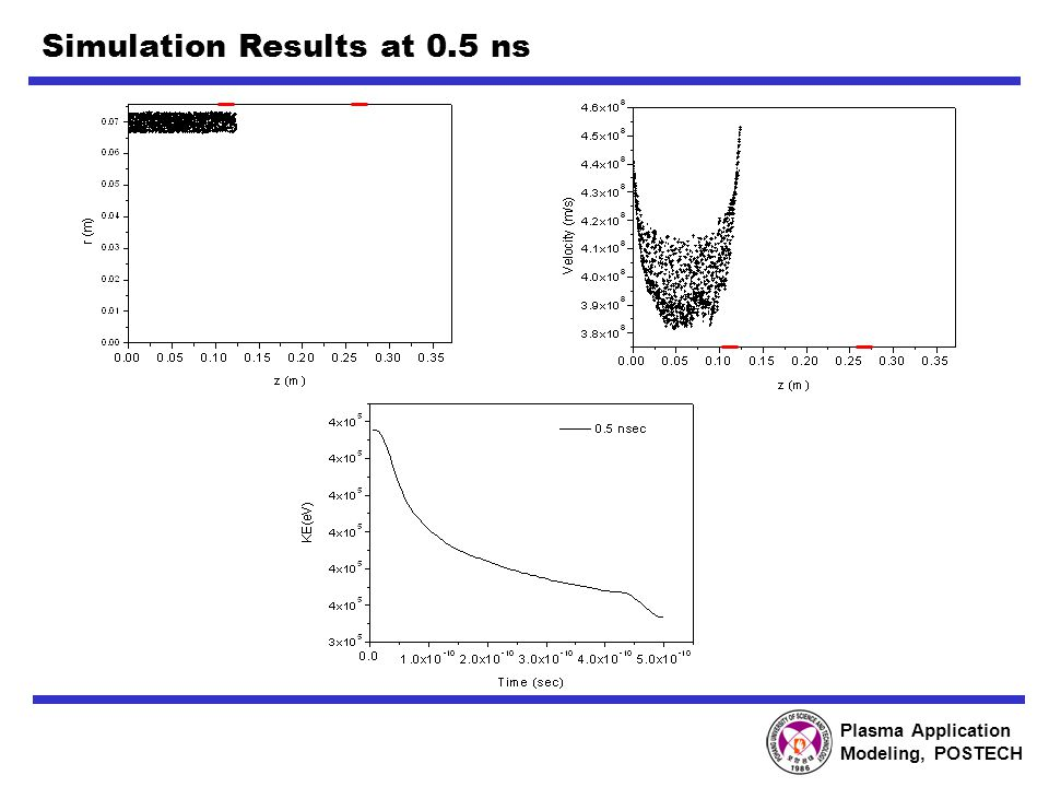 Plasma Application Modeling, POSTECH Simulation Results at 0.5 ns