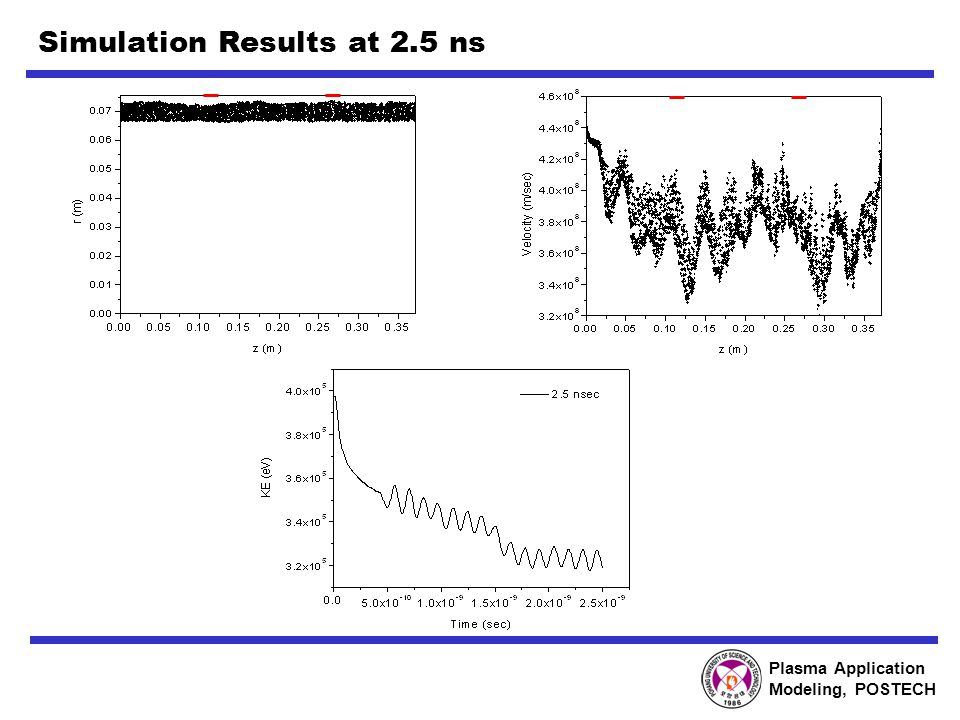 Plasma Application Modeling, POSTECH Simulation Results at 2.5 ns