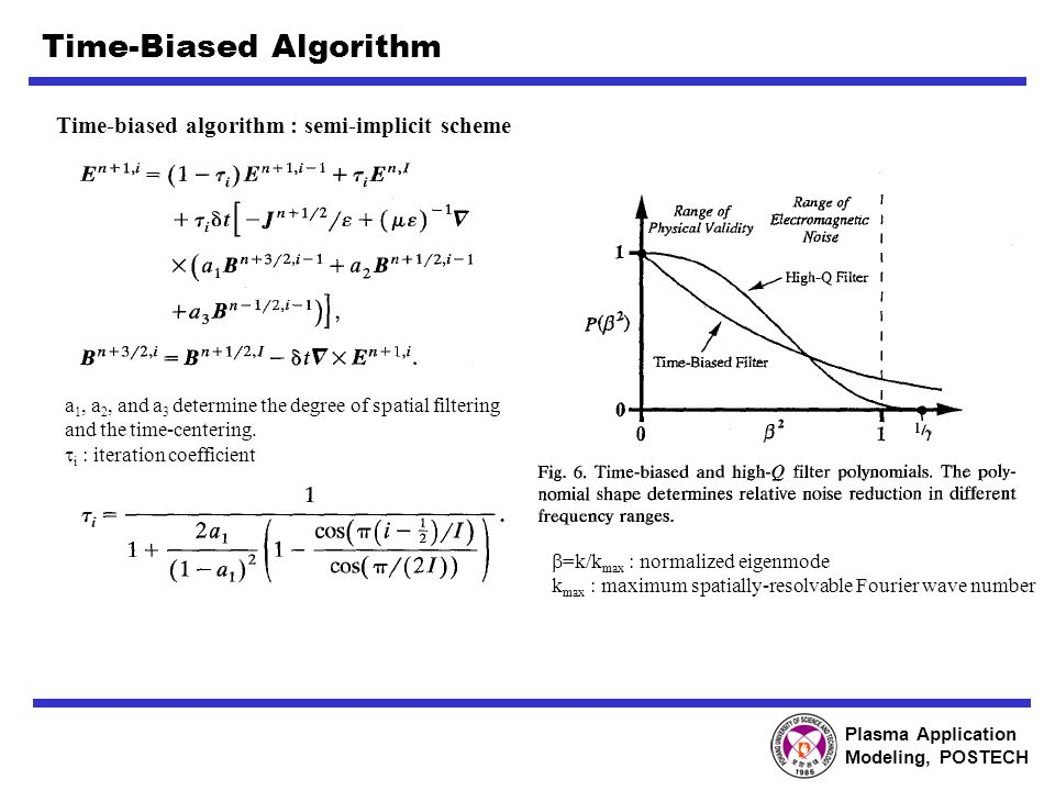 Plasma Application Modeling, POSTECH Time-Biased Algorithm Time-biased algorithm : semi-implicit scheme a 1, a 2, and a 3 determine the degree of spatial filtering and the time-centering.