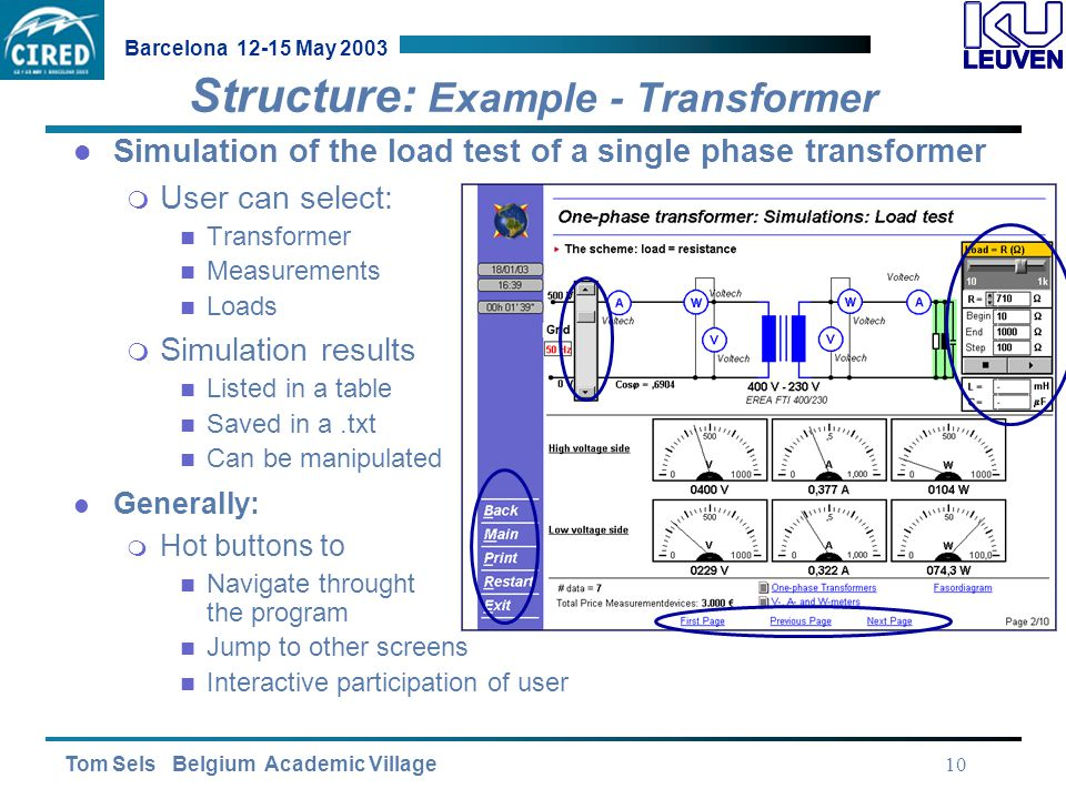 Tom Sels Belgium Academic Village Barcelona 12-15 May 2003 10 Structure: Example - Transformer Simulation of the load test of a single phase transformer  User can select: Transformer Measurements Loads  Simulation results Listed in a table Saved in a.txt Can be manipulated Generally:  Hot buttons to Navigate throught the program Jump to other screens Interactive participation of user