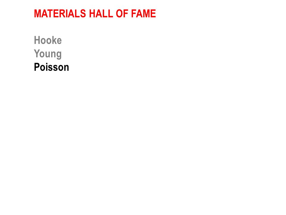 MATERIALS HALL OF FAME Hooke Young Newton & Laplace Guillaume Young Maxwell Griffith