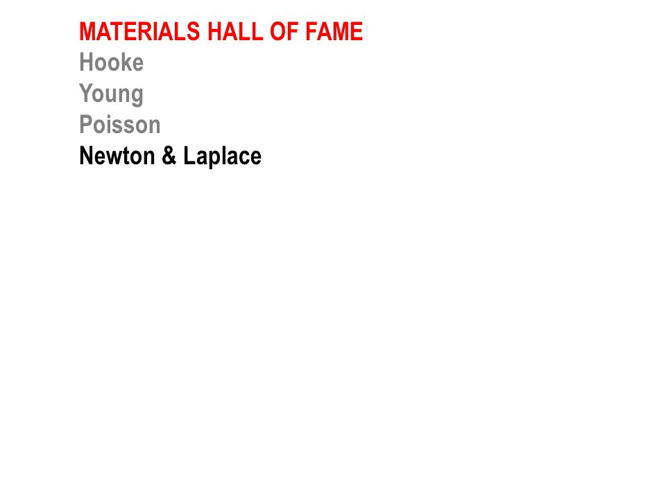 MATERIALS HALL OF FAME Hooke Young Newton & Laplace Guillaume Young Maxwell Griffith Ashby