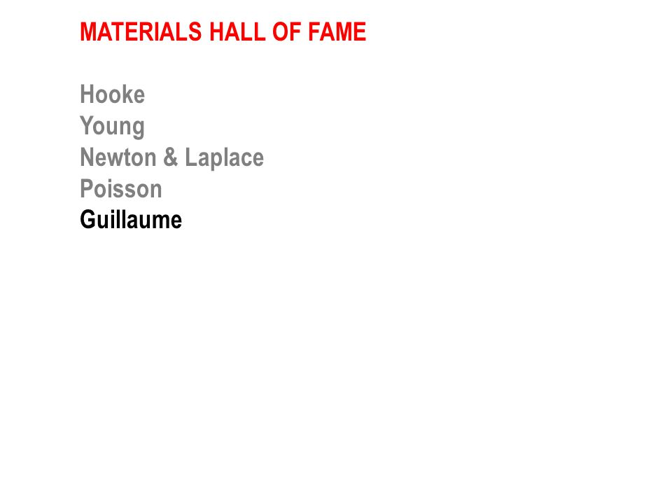MATERIALS HALL OF FAME Hooke Young Newton & Laplace Guillaume Young Maxwell Griffith Ashby Kroto