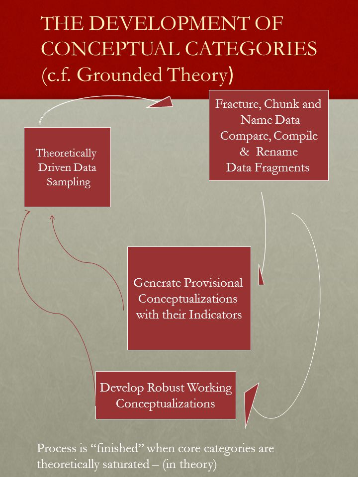 THE DEVELOPMENT OF CONCEPTUAL CATEGORIES (c.f. Grounded Theory ) Theoretically Driven Data Sampling Fracture, Chunk and Name Data Compare, Compile & R