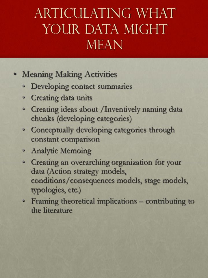 Articulating What Your Data Might Mean Meaning Making Activities Meaning Making Activities Developing contact summaries Developing contact summaries C