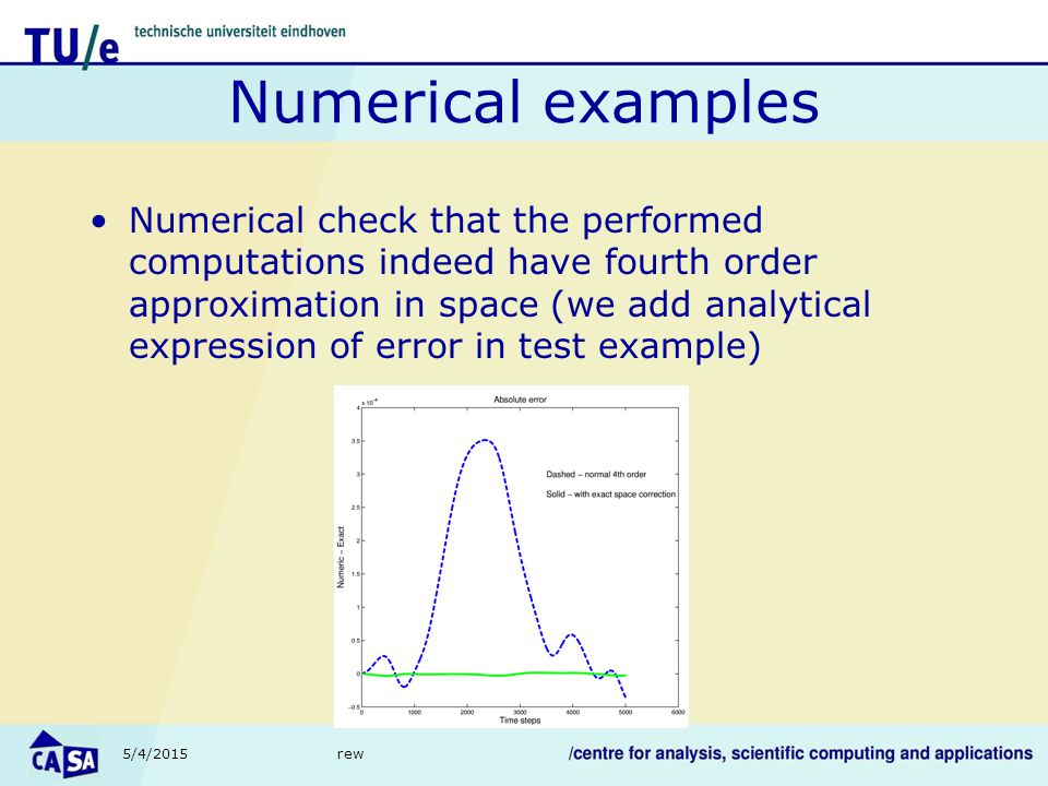 5/4/2015rew Numerical examples Numerical check that the performed computations indeed have fourth order approximation in space (we add analytical expression of error in test example)