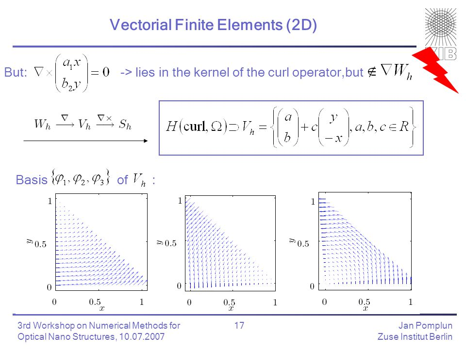 Jan Pomplun Zuse Institut Berlin 17 3rd Workshop on Numerical Methods for Optical Nano Structures, 10.07.2007 Vectorial Finite Elements (2D) Basis of : But:-> lies in the kernel of the curl operator,but