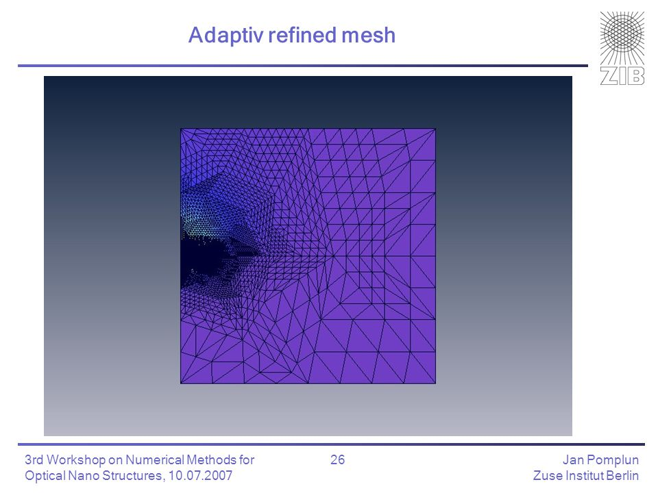Jan Pomplun Zuse Institut Berlin 26 3rd Workshop on Numerical Methods for Optical Nano Structures, 10.07.2007 Adaptiv refined mesh
