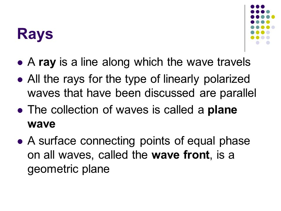 Rays A ray is a line along which the wave travels All the rays for the type of linearly polarized waves that have been discussed are parallel The coll