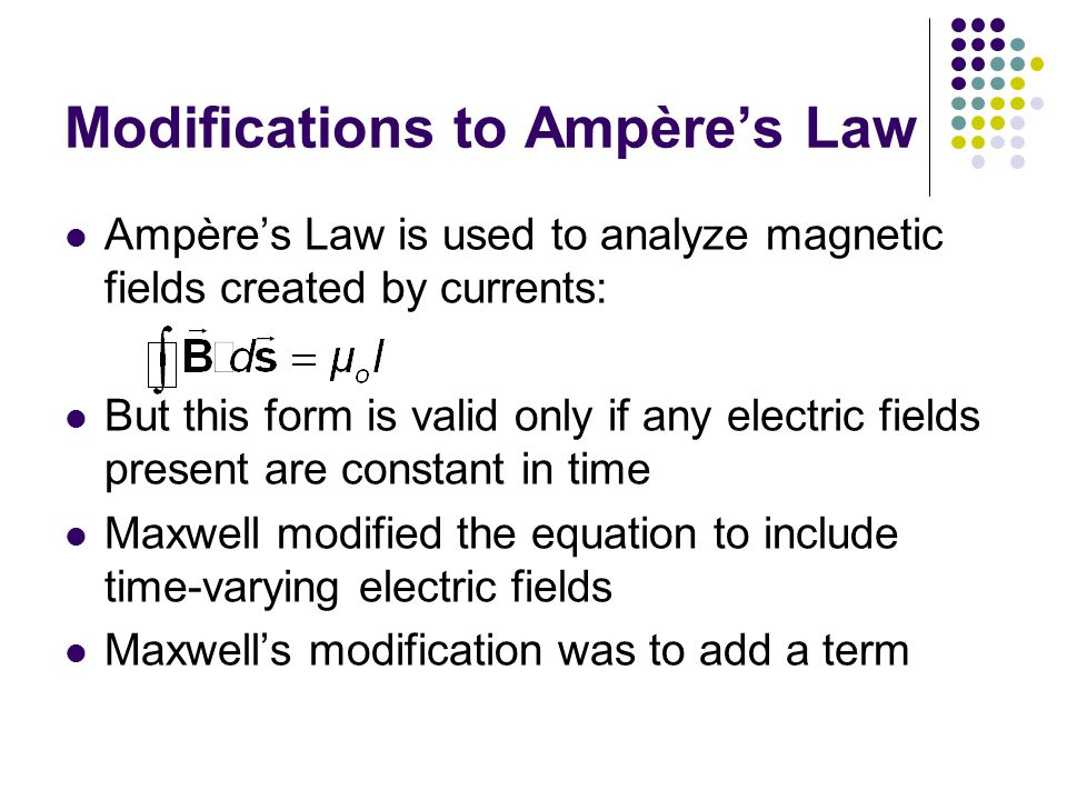Modifications to Ampère's Law Ampère's Law is used to analyze magnetic fields created by currents: But this form is valid only if any electric fields