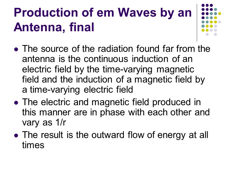 Production of em Waves by an Antenna, final The source of the radiation found far from the antenna is the continuous induction of an electric field by