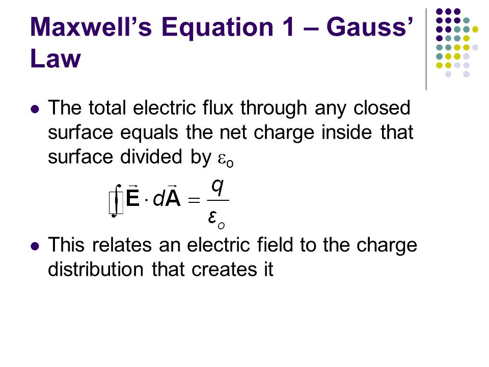 Maxwell's Equation 1 – Gauss' Law The total electric flux through any closed surface equals the net charge inside that surface divided by  o This rel