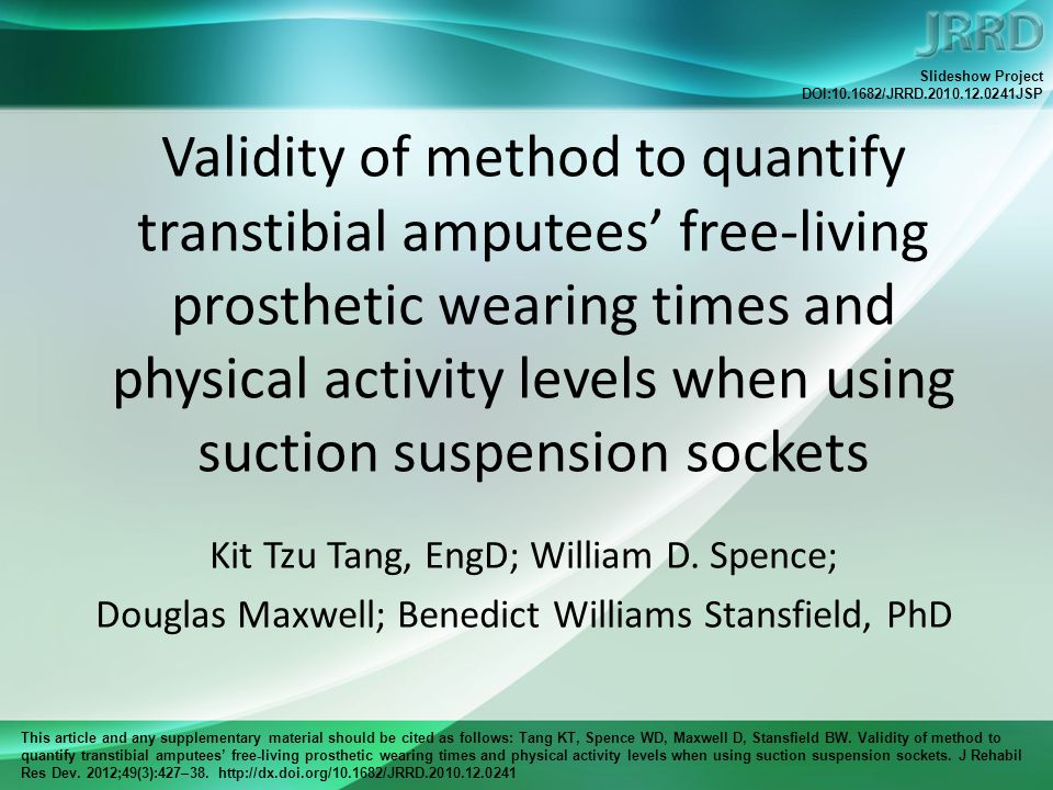 This article and any supplementary material should be cited as follows: Tang KT, Spence WD, Maxwell D, Stansfield BW.