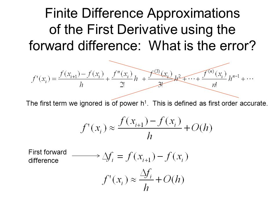 Finite Difference Approximations of the First Derivative using the forward difference: What is the error? The first term we ignored is of power h 1. T