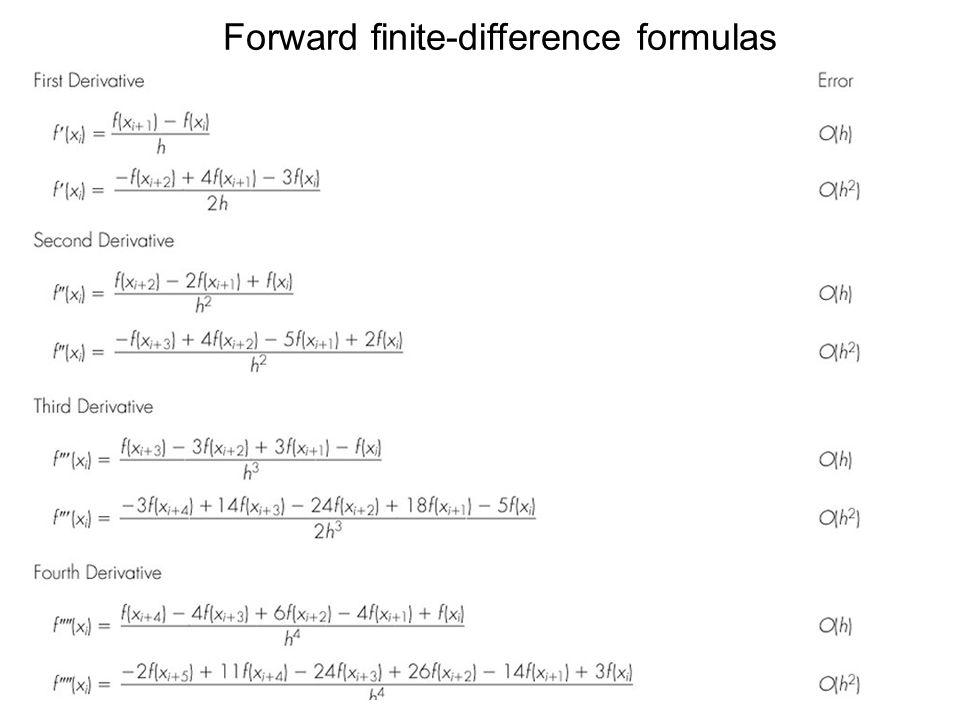 Forward finite-difference formulas