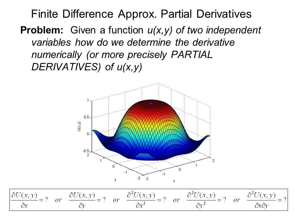Finite Difference Approx. Partial Derivatives Problem: Given a function u(x,y) of two independent variables how do we determine the derivative numeric