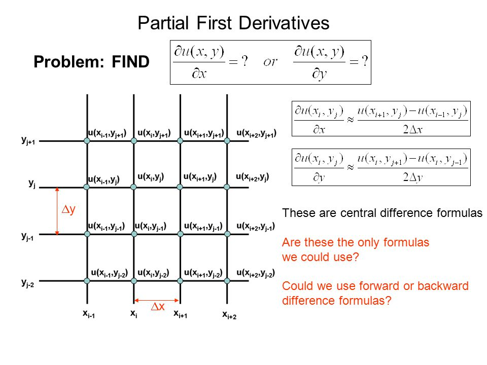 Partial First Derivatives Problem: FIND xx yy These are central difference formulas Are these the only formulas we could use? Could we use forward