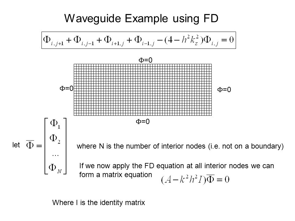 Waveguide Example using FD  =0 let where N is the number of interior nodes (i.e. not on a boundary) If we now apply the FD equation at all interior n