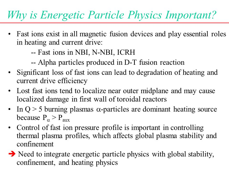 Why is Energetic Particle Physics Important.