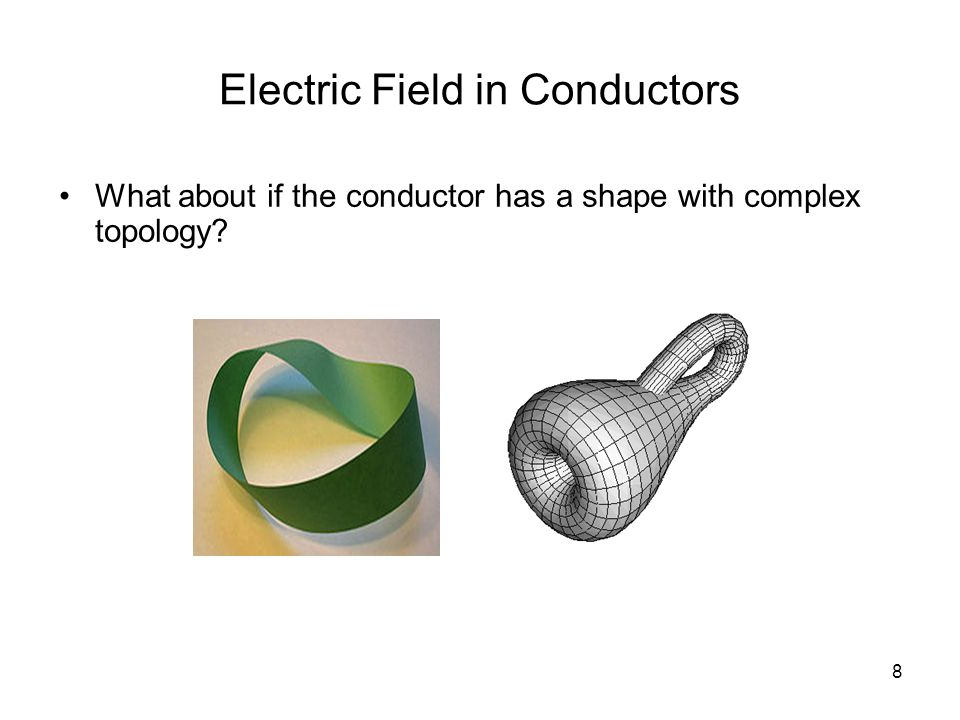 8 Electric Field in Conductors What about if the conductor has a shape with complex topology?
