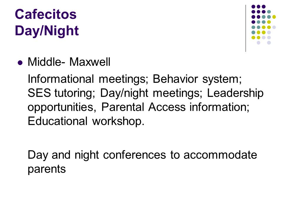 Cafecitos Day/Night Middle- Maxwell Informational meetings; Behavior system; SES tutoring; Day/night meetings; Leadership opportunities, Parental Access information; Educational workshop.