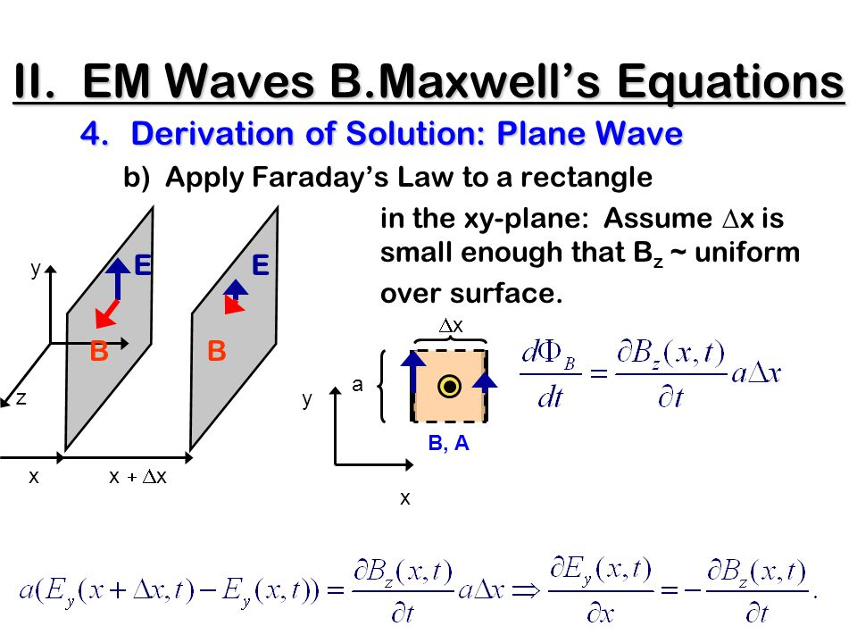 II. EM Waves B.Maxwell's Equations 4.Derivation of Solution: Plane Wave b) Apply Faraday's Law to a rectangle in the xy-plane: Assume  x is small eno