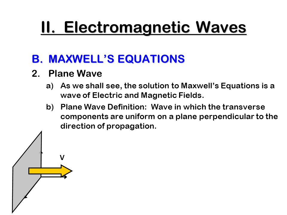 C.The Production of Electromagnetic Waves 3.Antennae a)Accelerating charges radiate energy as EM waves b)Oscillating voltage => accelerates charge => EM radiation ++++++ t = 0: Charge placed on metal rods connected to an AC generator.