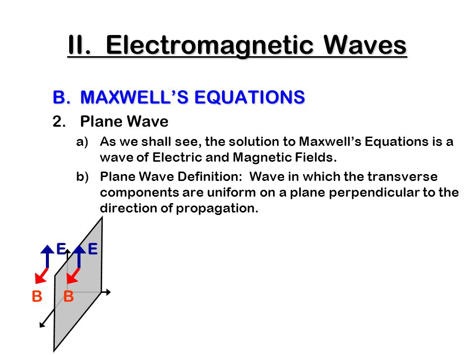 C.The Production of Electromagnetic Waves 3.Antennae c)Oscillating E => Oscillating B wave Top View II.