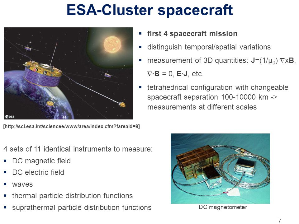 ESA-Cluster spacecraft 7  first 4 spacecraft mission  distinguish temporal/spatial variations  measurement of 3D quantities: J=(1/μ 0 )  xB,  B