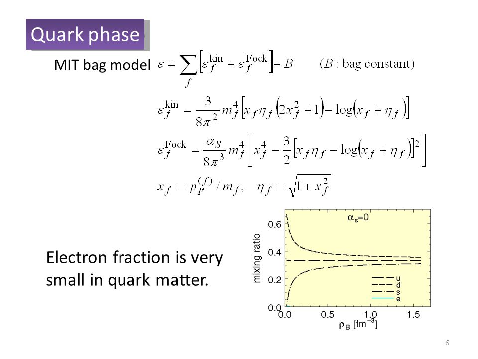 6 Quark phase Electron fraction is very small in quark matter. MIT bag model