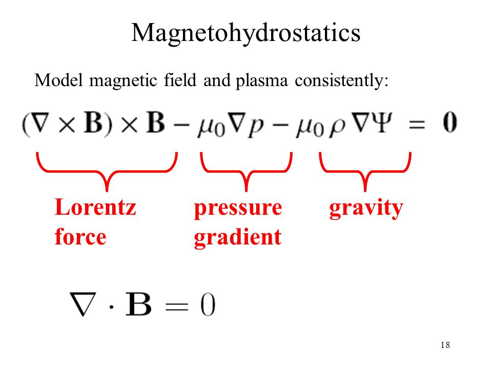 19 We define the functional The magnetohydrostatic equations are fulfilled if L=0 For easier mathematical handling we use