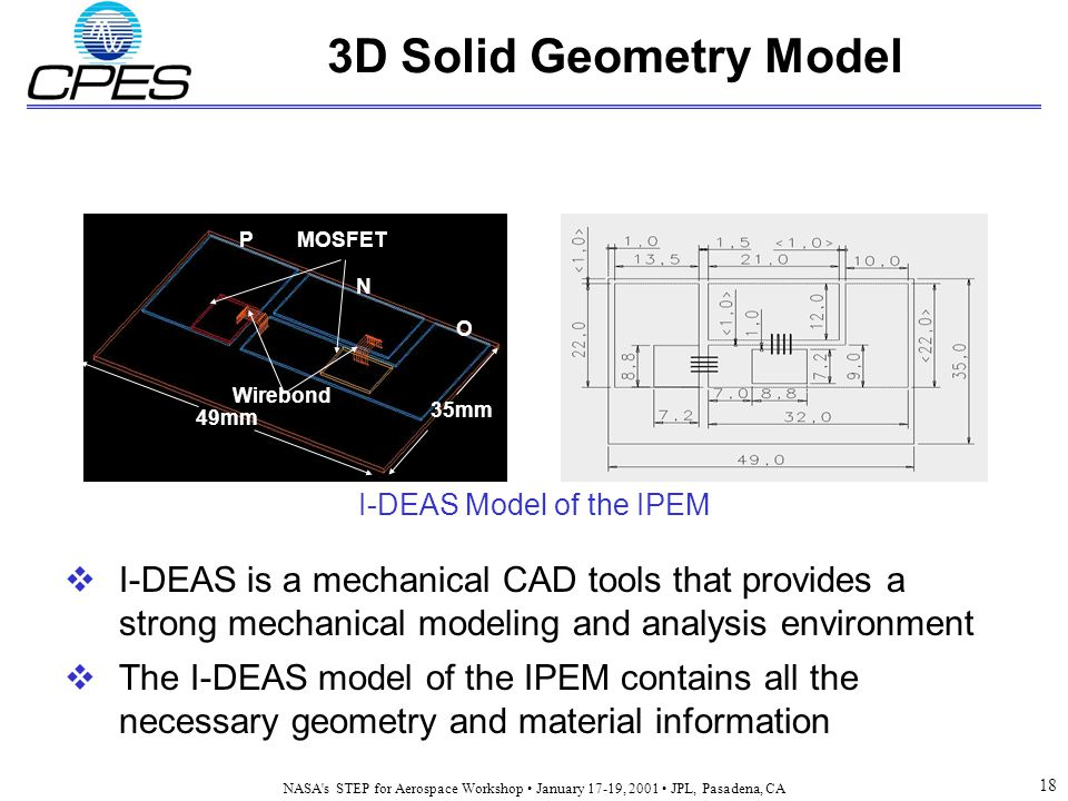 NASA s STEP for Aerospace Workshop January 17-19, 2001 JPL, Pasadena, CA 18 3D Solid Geometry Model  I-DEAS is a mechanical CAD tools that provides a strong mechanical modeling and analysis environment  The I-DEAS model of the IPEM contains all the necessary geometry and material information MOSFETP N O Wirebond 49mm 35mm I-DEAS Model of the IPEM