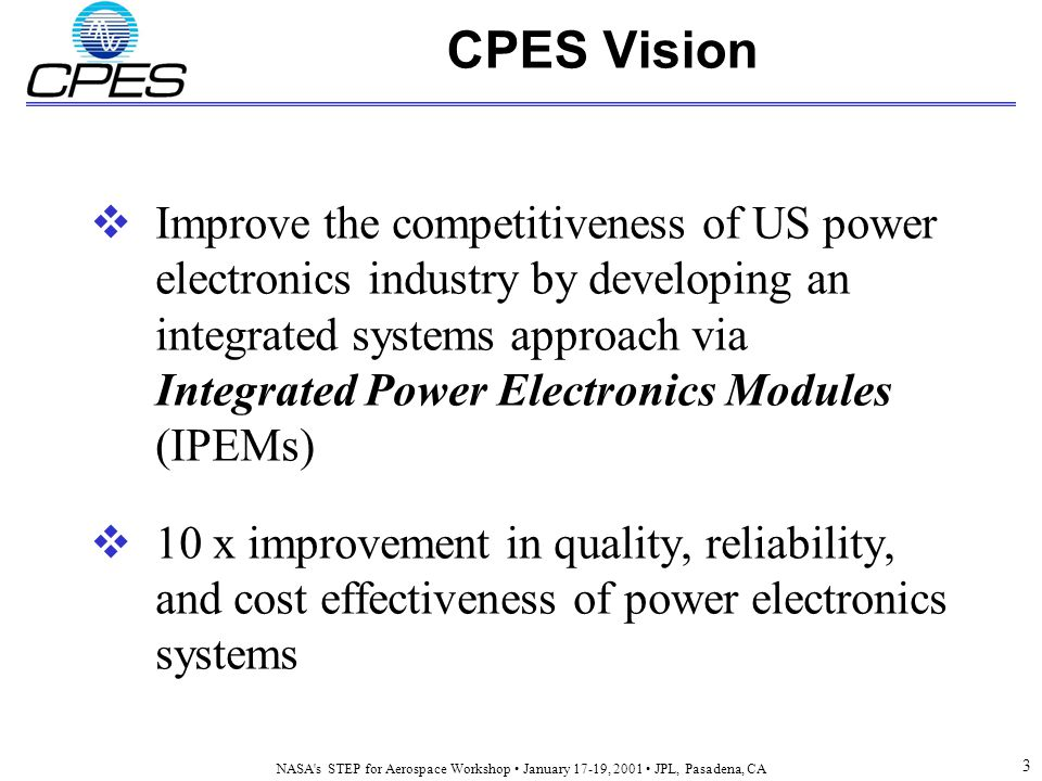 NASA s STEP for Aerospace Workshop January 17-19, 2001 JPL, Pasadena, CA 3 CPES Vision  Improve the competitiveness of US power electronics industry by developing an integrated systems approach via Integrated Power Electronics Modules (IPEMs)  10 x improvement in quality, reliability, and cost effectiveness of power electronics systems