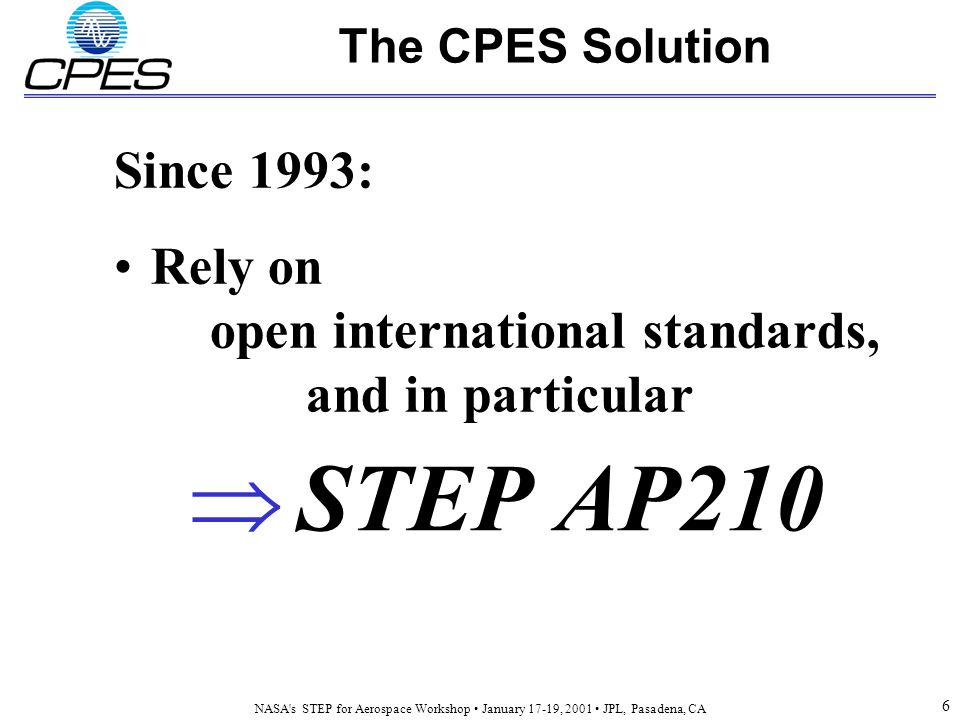 NASA s STEP for Aerospace Workshop January 17-19, 2001 JPL, Pasadena, CA 6 The CPES Solution  STEP AP210 Since 1993: Rely on open international standards, and in particular
