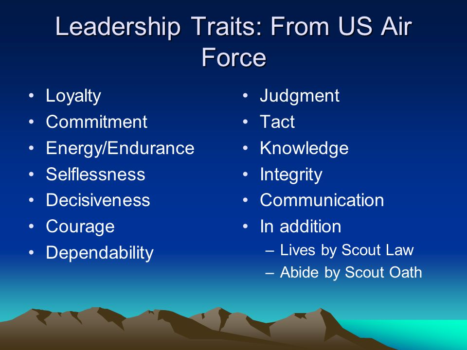 Leadership Traits: From US Air Force Loyalty Commitment Energy/Endurance Selflessness Decisiveness Courage Dependability Judgment Tact Knowledge Integrity Communication In addition –Lives by Scout Law –Abide by Scout Oath